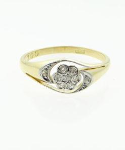18ct Gold Diamond Daisy Swirl Cluster Ring c1900