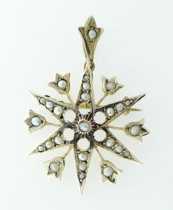 Gold Seed Pearl Star Pendant c1900