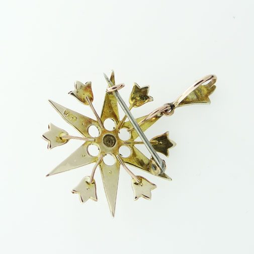Antique 9ct Gold Seed Pearl Star Pendant c1900