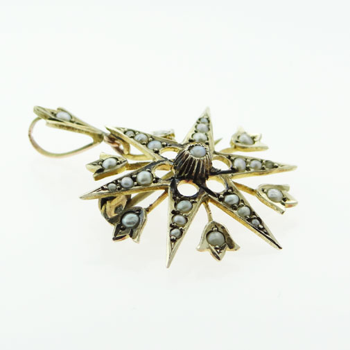9ct Gold Seed Pearl Star Pendant c1900