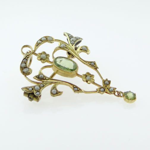 Gold Peridot and Seed Pearl Pendant c1900