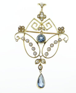 Antique Gold Blue Topaz and Seed Pearl Pendant