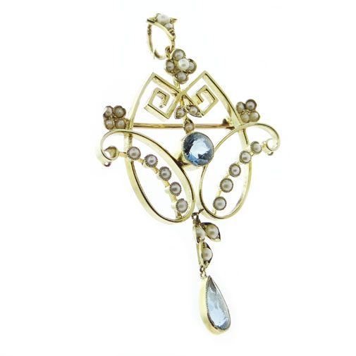 Gold Blue Topaz and Seed Pearl Pendant
