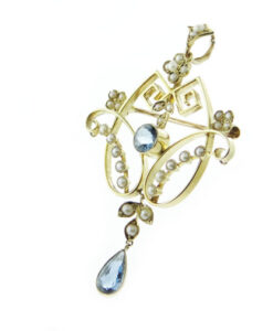 15ct Gold Blue Topaz and Seed Pearl Pendant