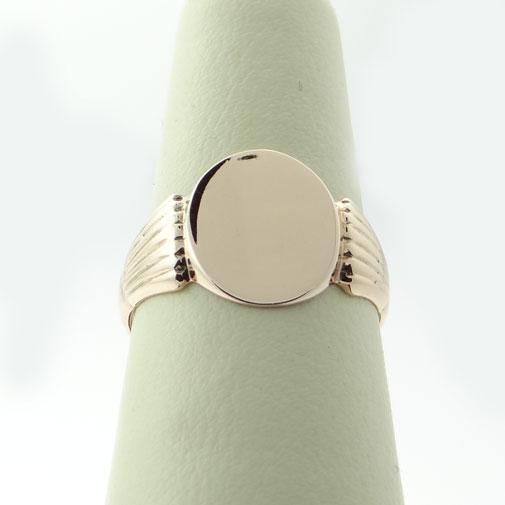 Antique 1906 9ct Rose Gold Oval Signet Ring