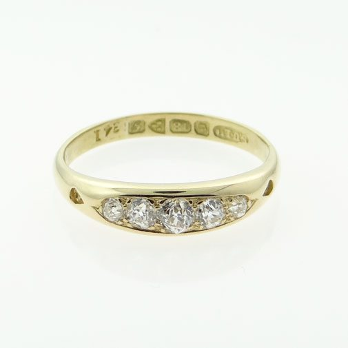 18ct Gold Five Stone Diamond Ring Chester 1907
