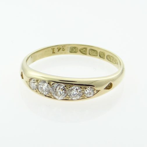 Gold Five Stone Diamond Ring Chester 1907