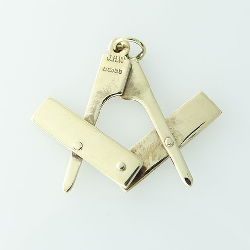 9ct Gold Masonic Square And Compass Pendant