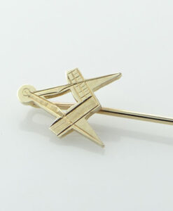 9ct Gold Masonic Square And Compass Stick Pin