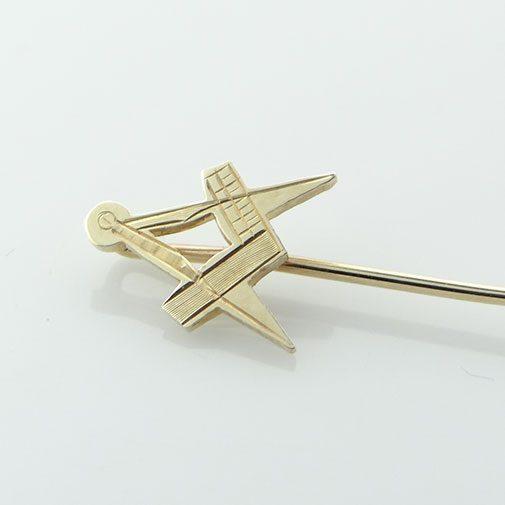 9ct Gold Masonic Square And Compass Stick Pin