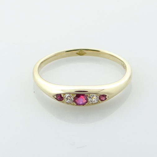 8ct Gold Ruby and Diamond Ring