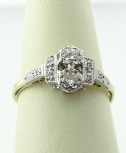 Antique 18ct Gold Art Deco Style Diamond Ring c1940