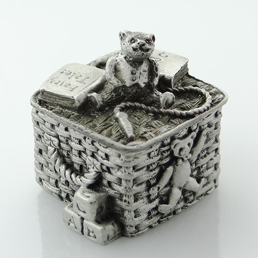 Pewter Teddy Bear Toy Box