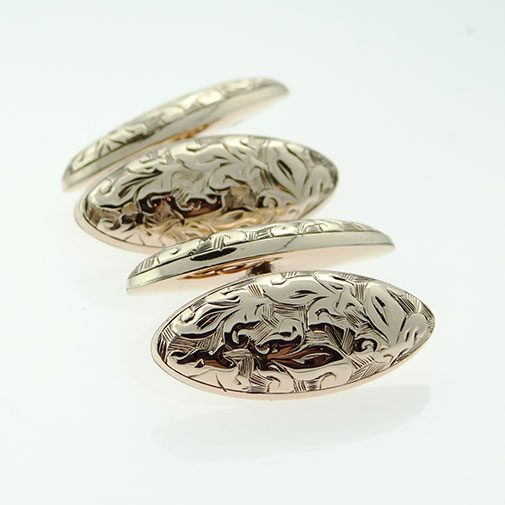 Antique 9ct Rose Gold Cufflinks Hallmarked Chester 1905