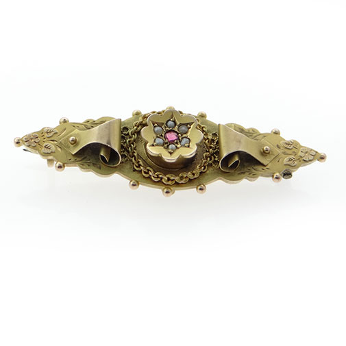 9ct Gold Ruby and Seed Pearl Brooch Chester 1914