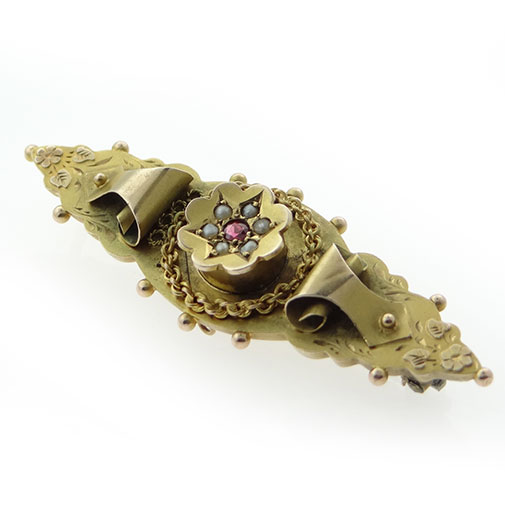 Antique 9ct Gold Ruby and Seed Pearl Brooch Chester 1914