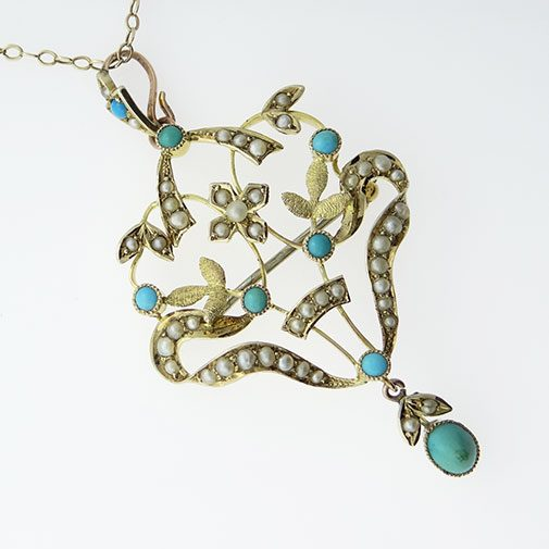 9ct Gold Turquoise and Seed Pearl Pendant c1900
