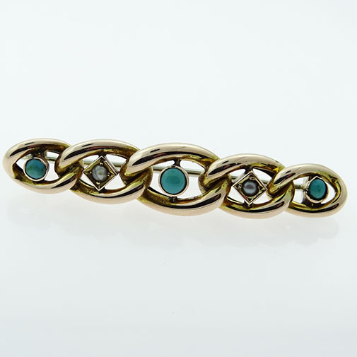 Rose Gold Turquoise and Seed Pearl Suffragette Brooch