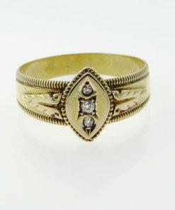 Victorian 18ct Gold Diamond Ring Birmingham 1897