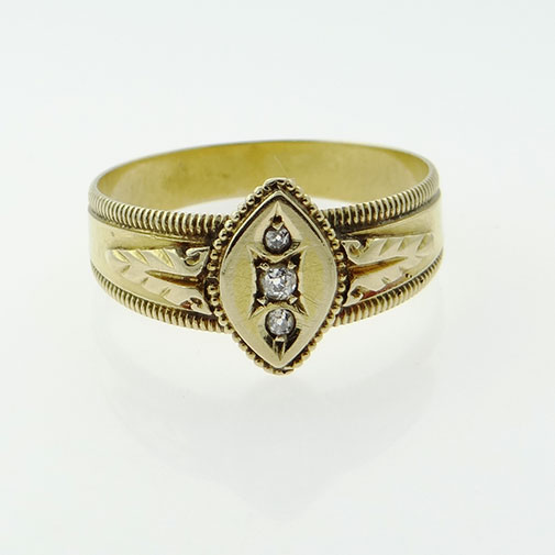 Victorian 18ct Gold Diamond Ring Birmingham 1897