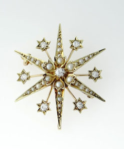 15ct Gold Diamond and Seed Pearl Star Brooch