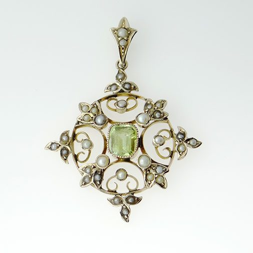 Antique Gold Peridot and Pearl Pendan