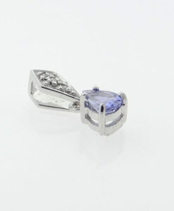 Diamond and Tanzanite Pear Pendant
