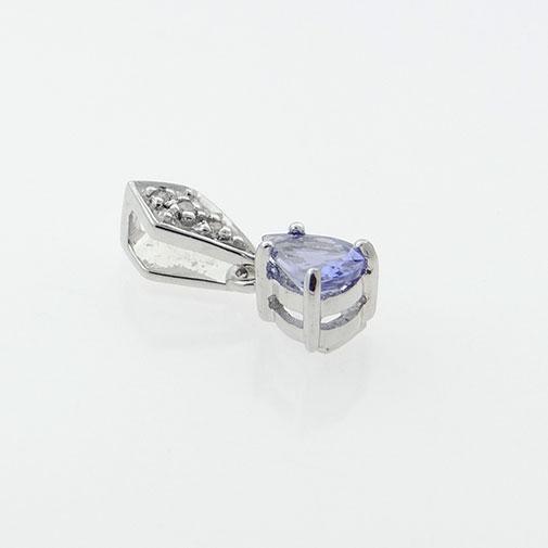 Diamond and Tanzanite Pear Pendant