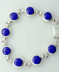 Sterling Silver Cobalt Blue Enamel Bracelet