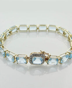 Gold Blue Topaz and Diamond Bracelet