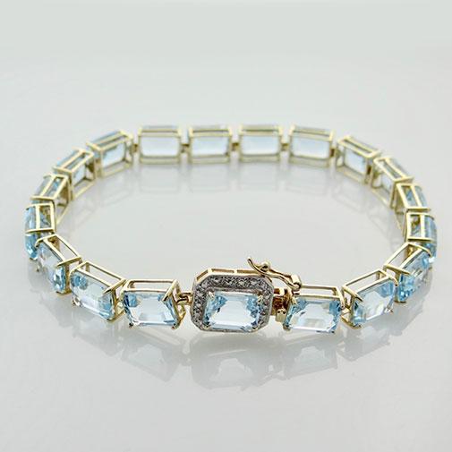 Gold Blue Topaz and Diamond Bracelet
