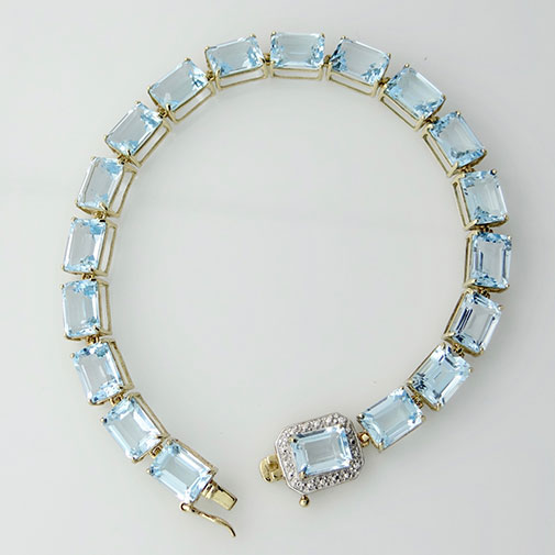 Blue Topaz and Diamond Bracelet
