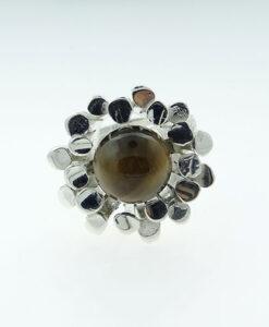 Sterling Silver Tigers Eye Modernist Ring