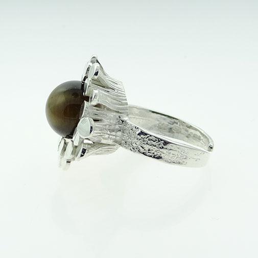 Silver Tigers Eye Modernist Ring