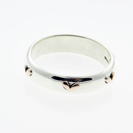 Sterling Silver & 9ct Gold Heart Ring By Linda MacDonald