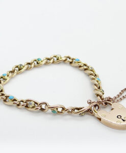 Antique 9ct Rose Gold Diamond and Turquoise Bracelet