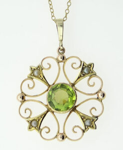 9ct Gold Peridot and Seed Pearl Pendant