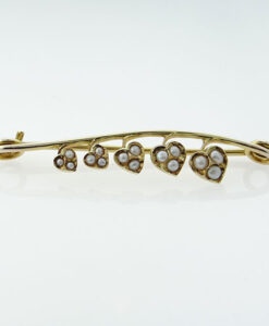 Antique 9ct Gold Seed Pearl Hearts Brooch