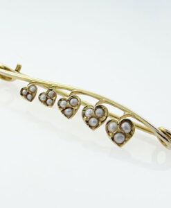 9ct Gold Seed Pearl Hearts Brooch