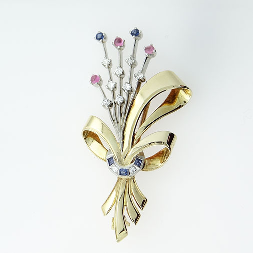 Retro Art Deco 18ct Gold Platinum Diamond and Sapphire Brooch