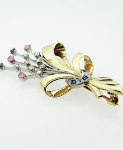 18ct Gold Platinum Diamond and Sapphire Brooch