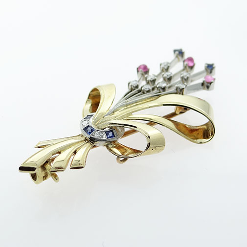 Art Deco 18ct Gold Platinum Diamond and Sapphire Brooch