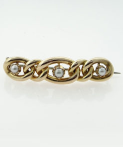 Antique 15ct Gold Pearl Suffragette Chain Brooch