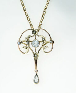 Antique 9ct Rose Gold Aquamarine and Seed Pearl Pendant