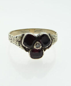 Antique 9ct Gold Diamond and Almandine Garnet Ring c1800