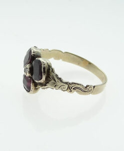 Gold Diamond and Almandine Garnet Ring c1800