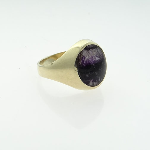 9ct Gold Blue John Stone Signet Ring