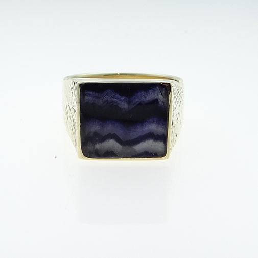 Gents 9ct Gold Blue John Stone Signet Ring