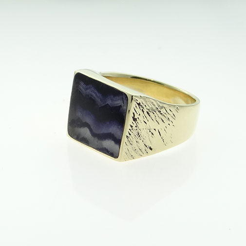 Blue John Stone Signet Ring