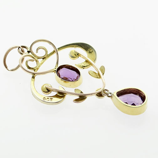 9ct Gold Amethyst and Seed Pearl Pendant c1900